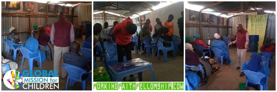 Joseph Preaching The Narrow Way in the Kibera Slum Fellowship Kenya Banner