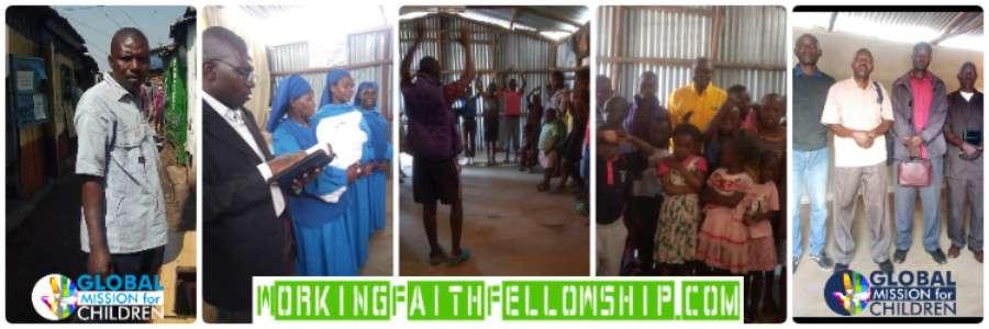 Children worship Jesus Kibera Kenya Banner Slum